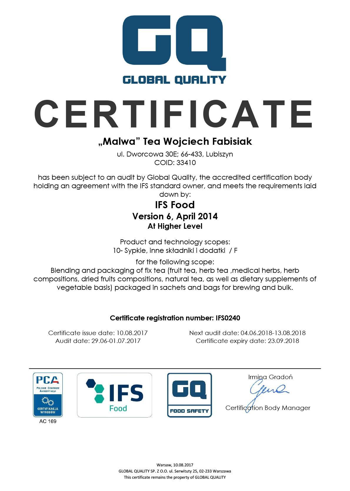 ifs malwa tea certification