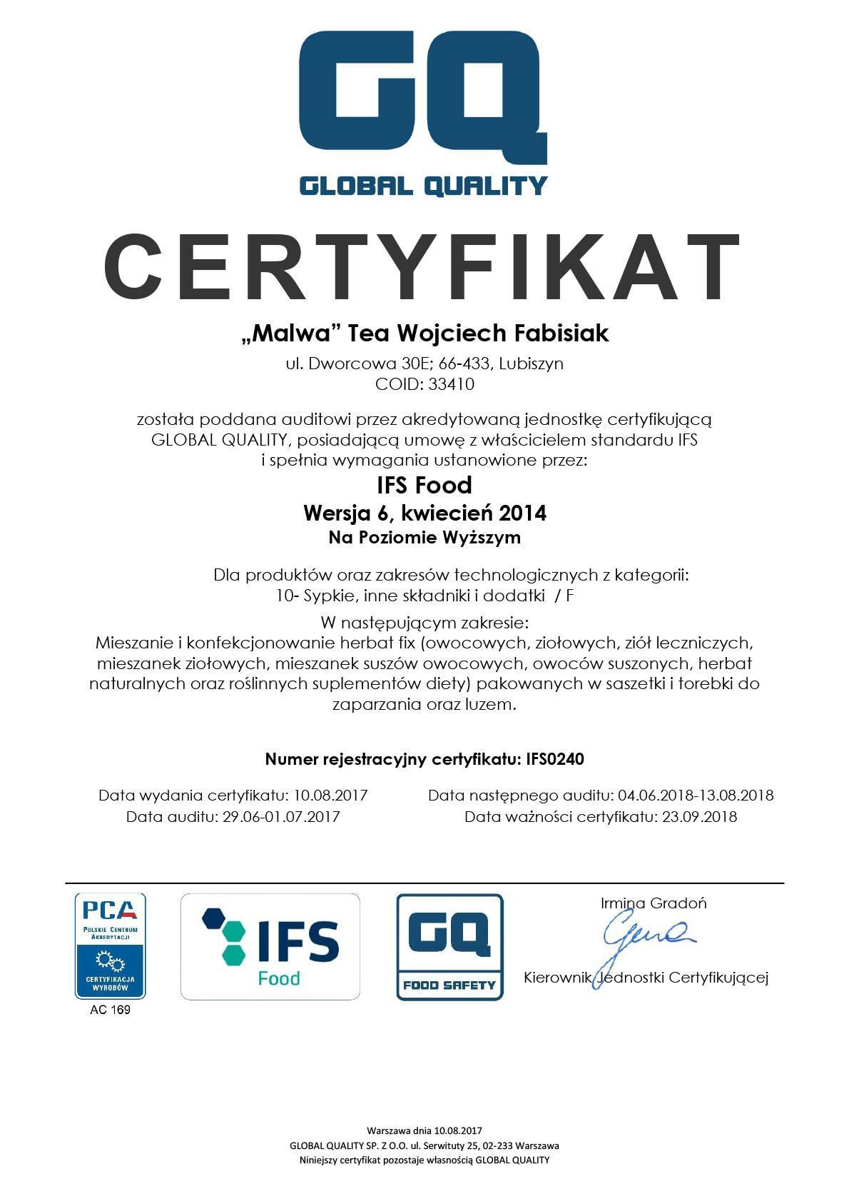 Malwa Tea Certyfikat Jakości IFS