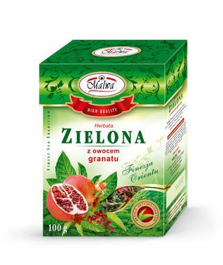 Herbata Zielona Liściasta Finezja Orientu - Zielona z Owocem Granatu